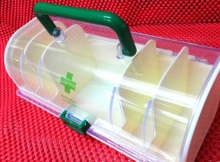 Portable Plastic Medicine Carry Case / Container / Organizer, First Aid Storage Box - 5 Compartments Partitions