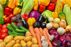Crop of vegetables. Potatoes, tomatoes, peppers, eggplant and other vegetables.